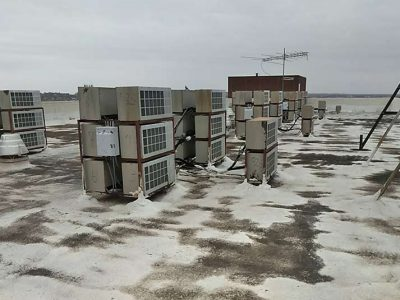 Before picture of commercial roof